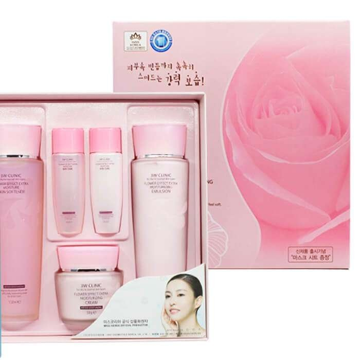 Набор для увлажнения лица 3W Clinic Flower Effect Extra Moisturizing 3 Kit Set