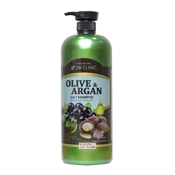 Шампунь для волос 3W Clinic Olive & Argan 2 in 1 Shampoo