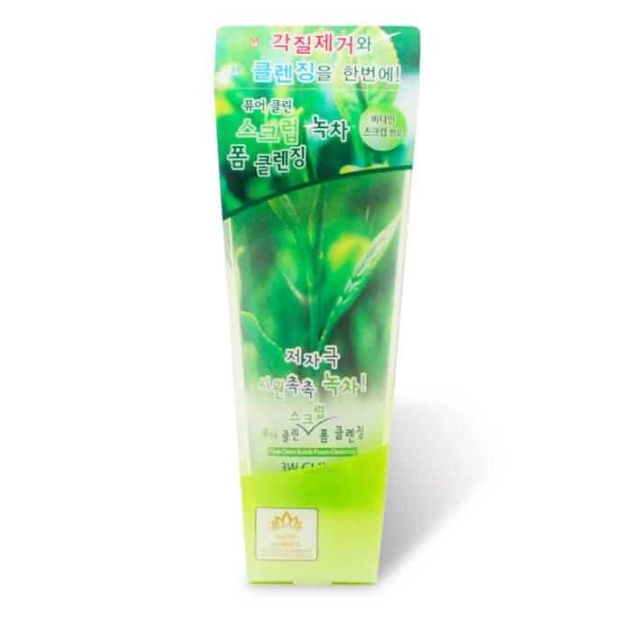 Пенка-скраб для лица 3W Clinic Pure Clean Scrub Foam Cleansing Green Tea