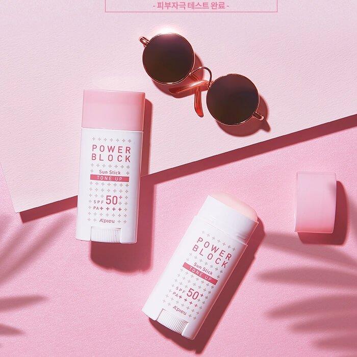 Солнцезащитный стик A'pieu Power Block Tone Up Sun Stick Pink