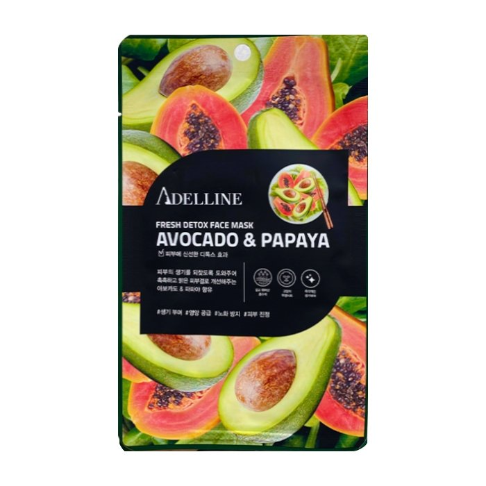 Тканевая маска Adelline Fresh Detox Face Mask Avocado & Papaya