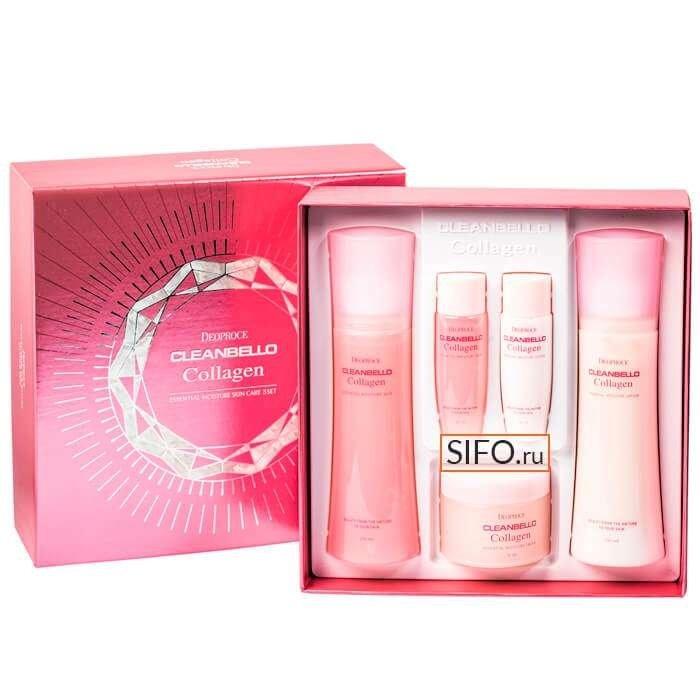 Набор для увлажнения лица Deoproce Cleanbello Collagen Essential Moisture Skin Care 3 Set