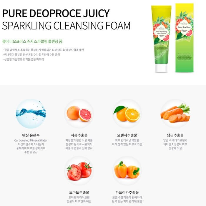Очищающая пенка Pure Deoproce Juicy Sparkling Foam Cleansing