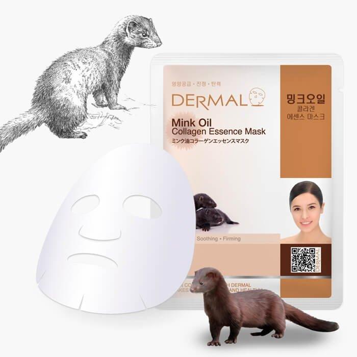 Тканевая маска Dermal Mink Oil Collagen Essence Mask