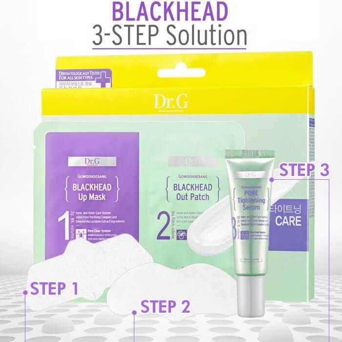 Набор от чёрных точек Dr.G Dual Patch Black Head 3-Step Solution