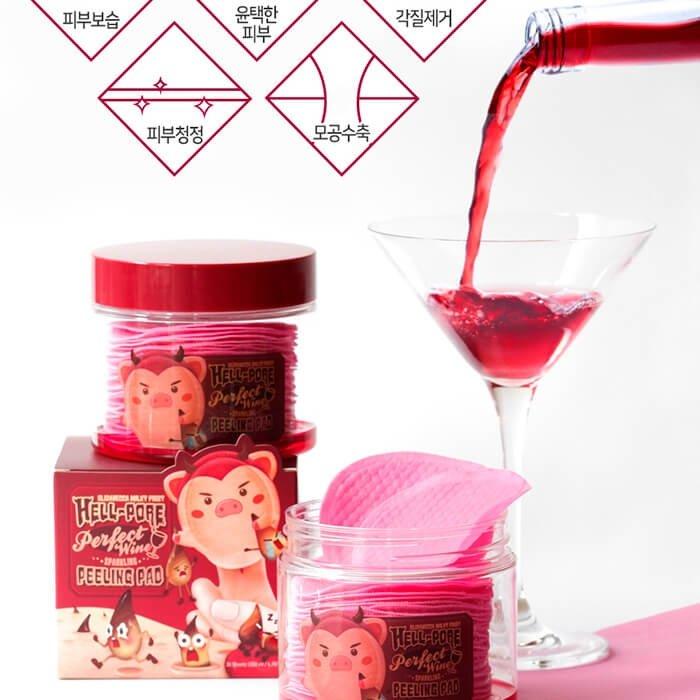 Пилинговые диски Elizavecca Hell-Pore Perfect Wine Sparkling Peeling Pad