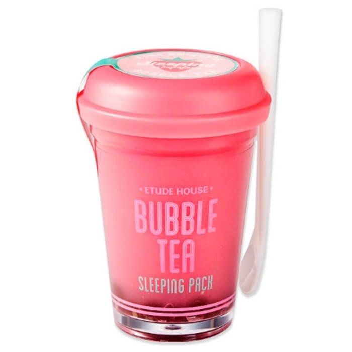 Ночная маска Etude House Bubble Tea Sleeping Pack - Strawberry