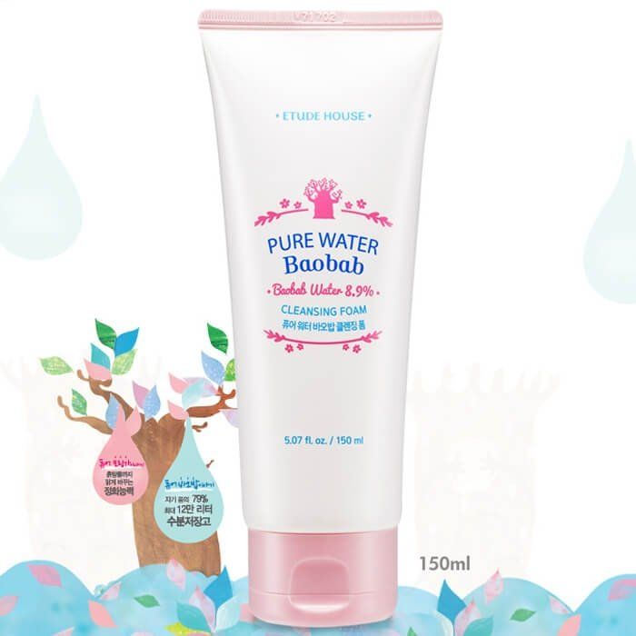 Пенка для умывания Etude House Pure Water Baobab Cleansing Foam