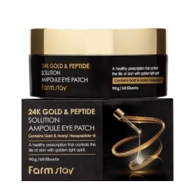 Патчи для век FarmStay 24K Gold & Peptide Solution Ampoule Eye Patch
