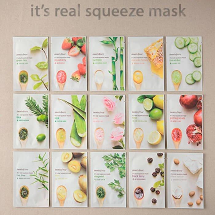 Тканевая маска Innisfree It's Real Squeeze Mask - Bija