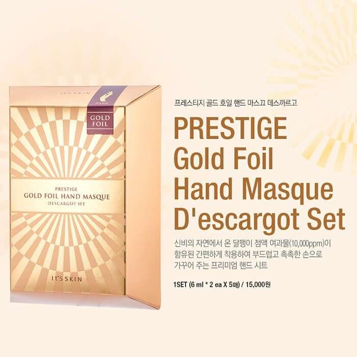 Набор масок для рук It's Skin Prestige Gold Foil Hand Masque D'escargot Set
