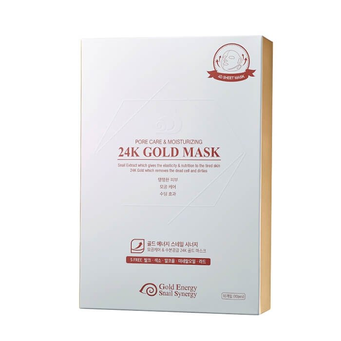 Тканевая маска J&G Gold Snail Pore Care & Moisturizing 24K Gold Mask (10 шт.)