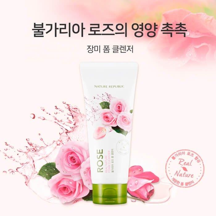 Очищающая пенка Nature Republic Real Nature Rose Foam Cleanser
