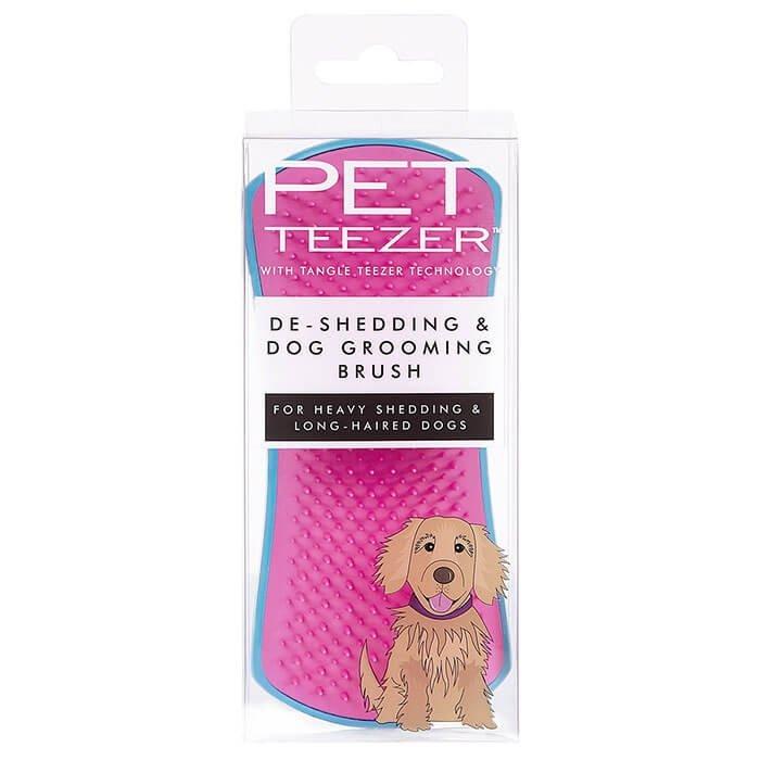 Расческа для собак Pet Teezer De-shedding & Dog Grooming Brush Pink & Blue