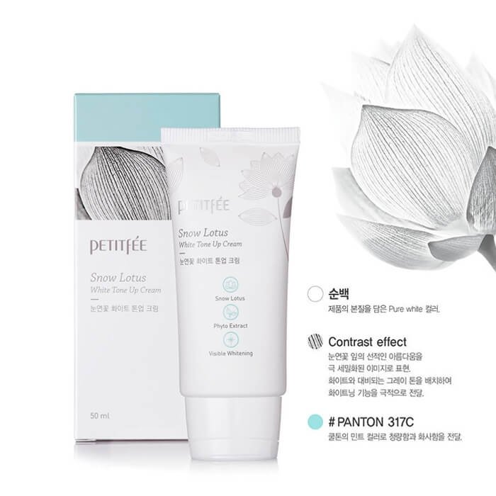 Осветляющий крем Petitfee Snow Lotus White Tone Up Cream