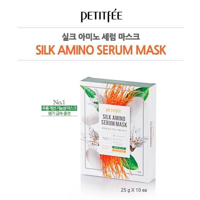 Тканевая маска Petitfee Silk Amino Serum Mask
