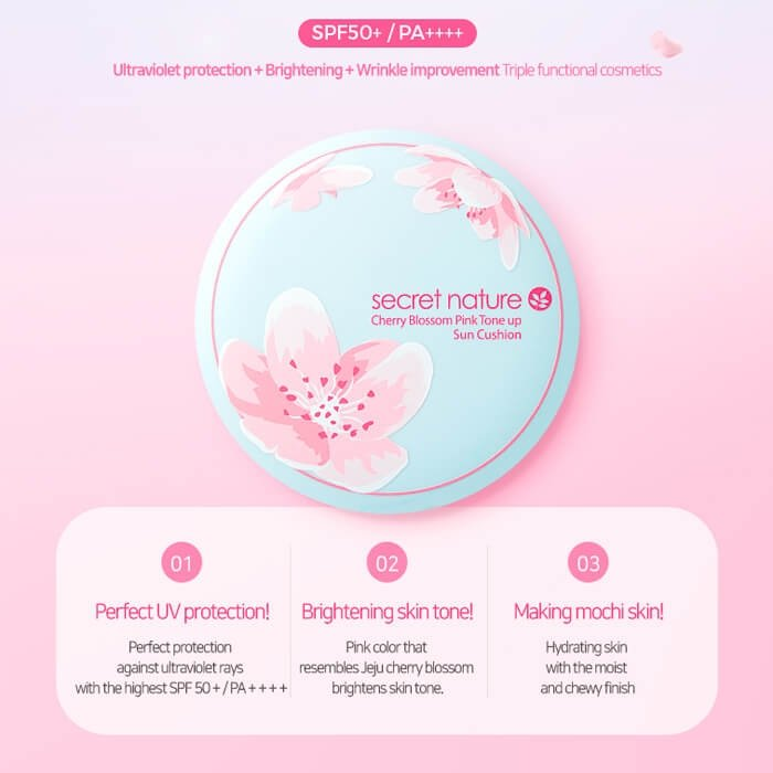 Кушон для лица Secret Nature Cherry Blossom Pink Tone Up Sun Cushion