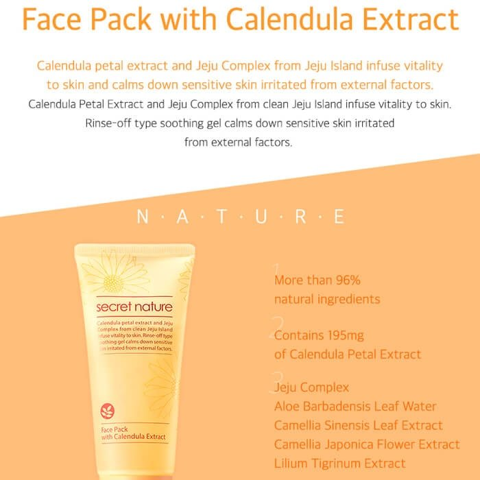 Маска для лица Secret Nature Face Pack With Calendula Extract