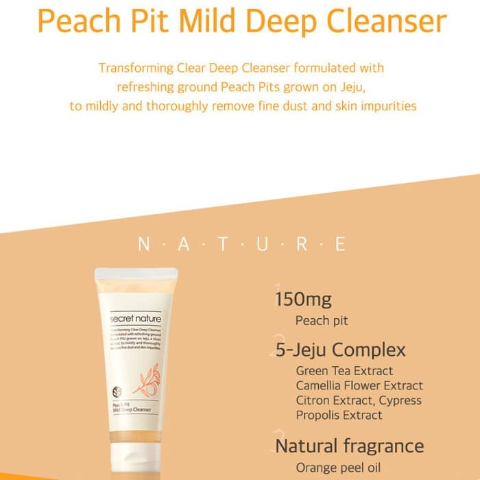 Очищающая пенка Secret Nature Peach Pit Mild Deep Cleanser