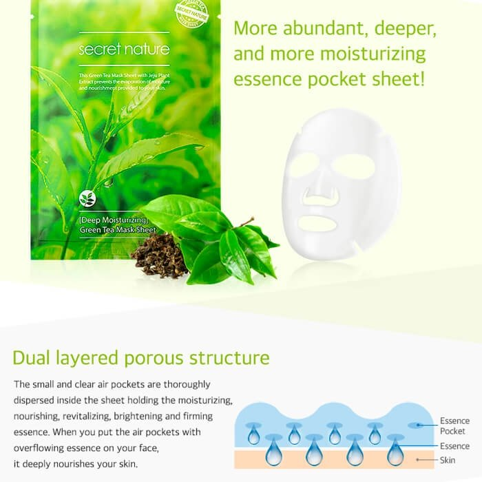 Тканевая маска Secret Nature Deep Moisturizing Green Tea Mask Sheet