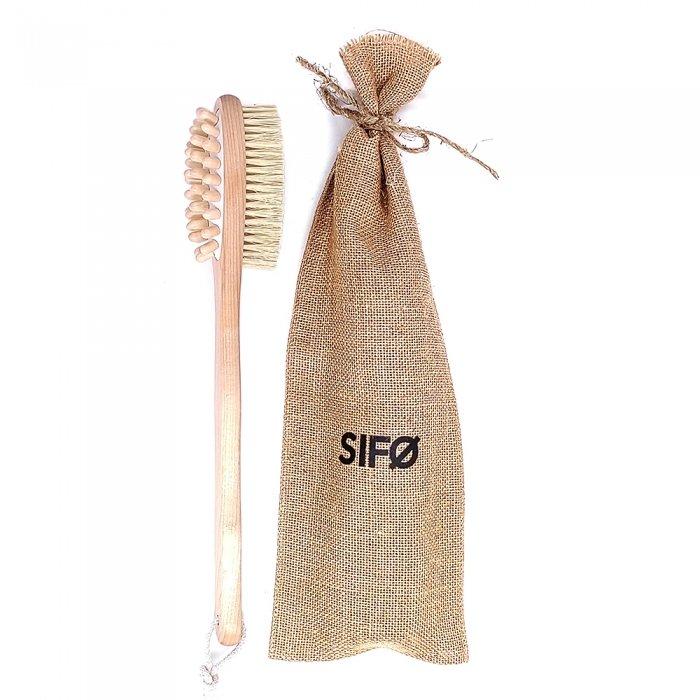 Щётка для сухого массажа тела SIFO - овальная на длинной ручке с массажёром