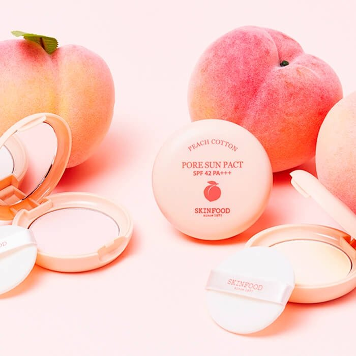 Компактная пудра Skinfood Peach Cotton Pore Sun Pact
