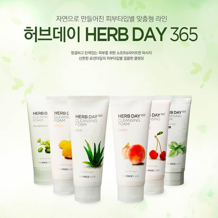 Пенка для умывания The Face Shop Herb Day 365 Acerola Cleansing Foam