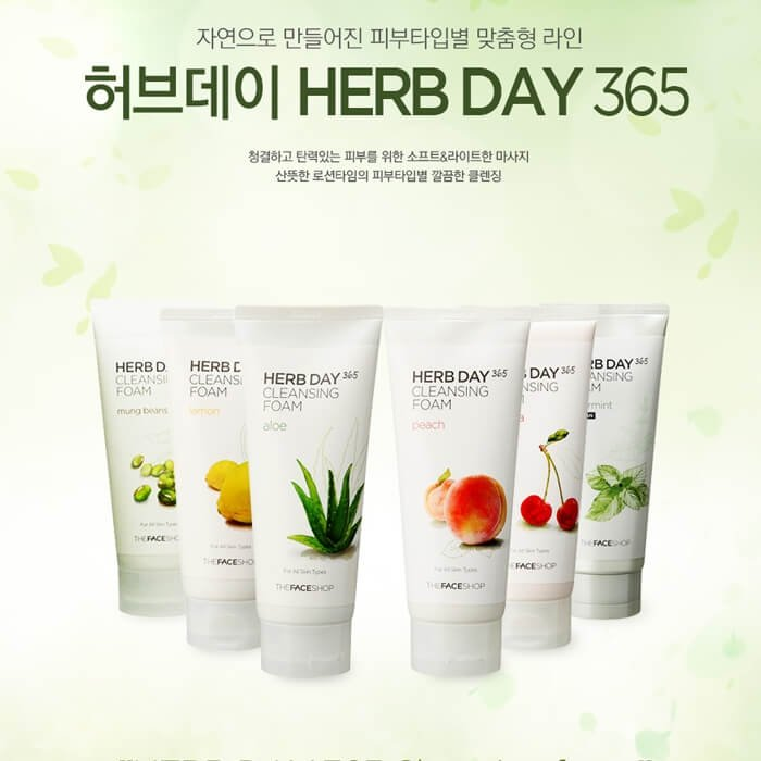 Пенка для умывания The Face Shop Herb Day 365 Peach Cleansing Foam