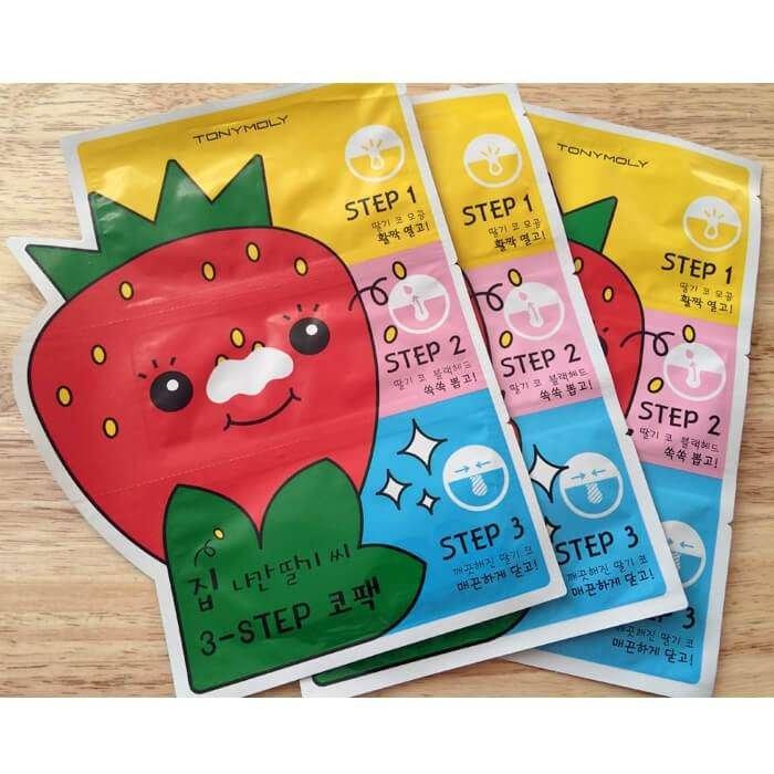 Набор от чёрных точек Tony Moly Homeless Strawberry Seeds 3-step Nose Pack