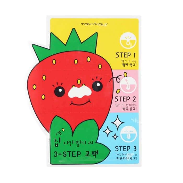 Набор от чёрных точек Tony Moly Homeless Strawberry Seeds 3-step Nose Pack