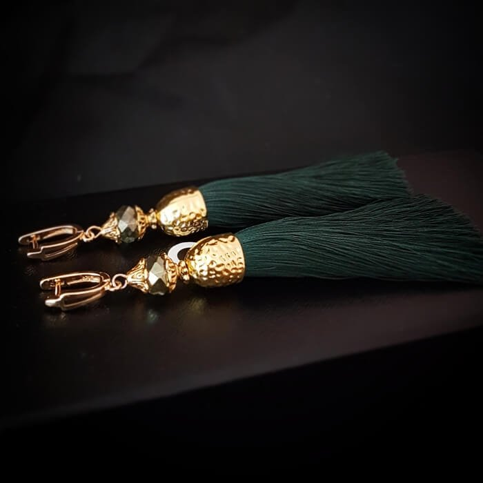 Серьги-кисти Wizard Brush - Dark Green