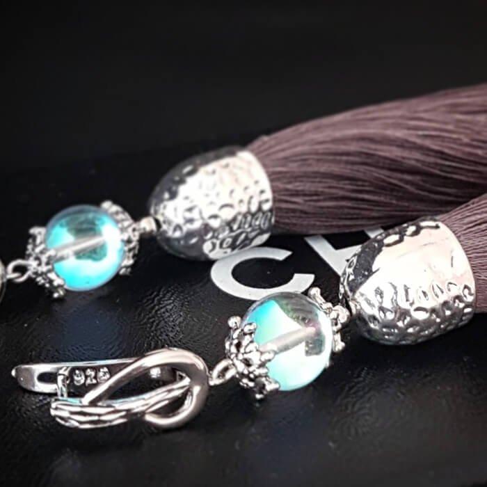 Серьги-кисти Wizard Brush - Gray & Opal