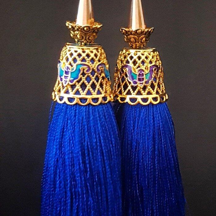 Серьги-кисти Wizard Brush - Short Blue