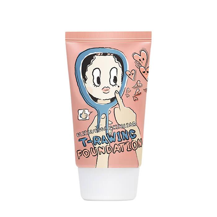 Купить Тональный крем Elizavecca Skin Liar T-Rawing Foundation #9 Light Beige | Светлый бежевый, Лёгкая тональная основа для незаметного макияжа и увлажнения кожи лица, Южная Корея