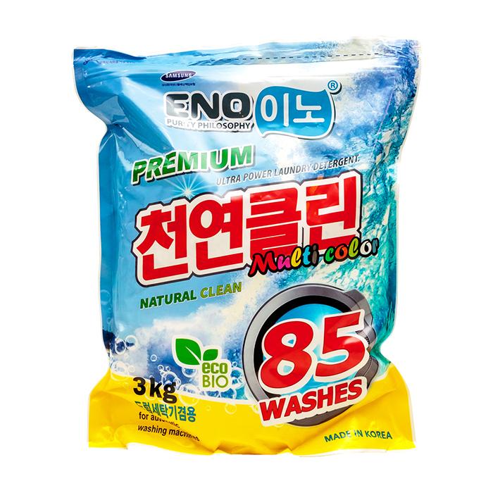 Купить Стиральный порошок Eno Multi Color (3000 г в мягкой упаковке), Универсальный концентрированный порошок для стирки цветного белья, Южная Корея