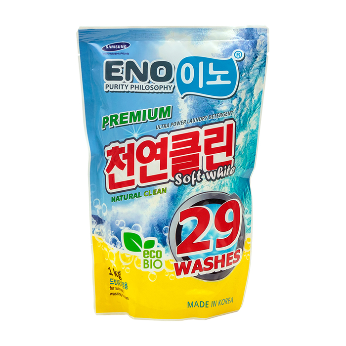 Купить Стиральный порошок Eno Soft White (1000 г в мягкой упаковке), Универсальный концентрированный порошок для стирки белого белья, Южная Корея