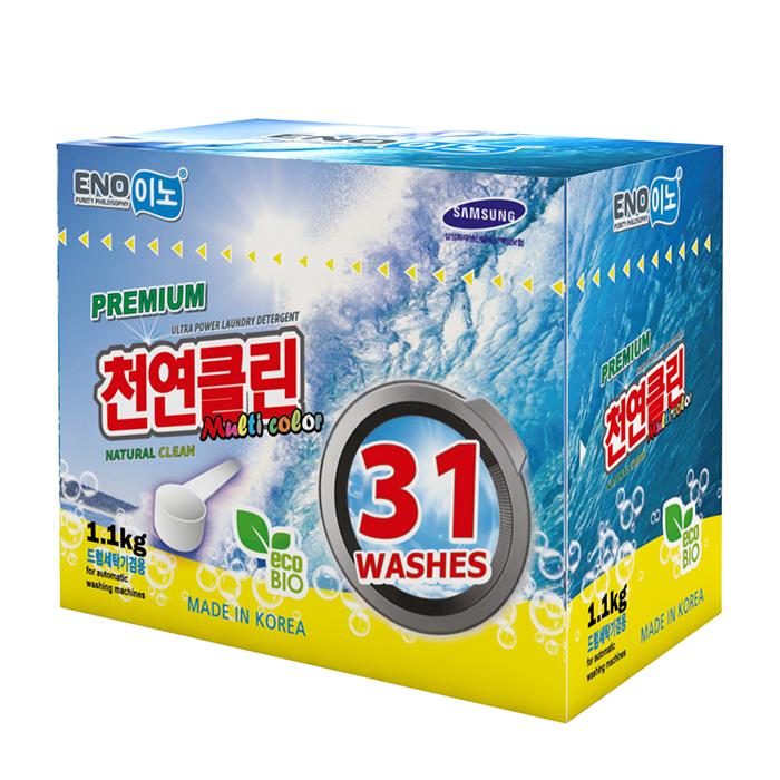 Купить Стиральный порошок Eno Multi Color (1100 г в коробке), Универсальный концентрированный порошок для стирки цветного белья, Южная Корея