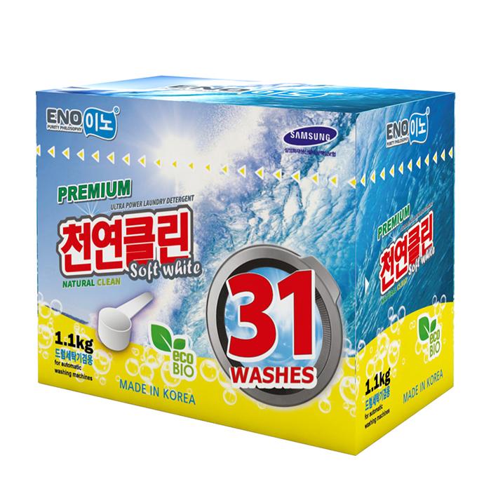 Купить Стиральный порошок Eno Soft White (1100 г в коробке), Универсальный концентрированный порошок для стирки белого белья, Южная Корея