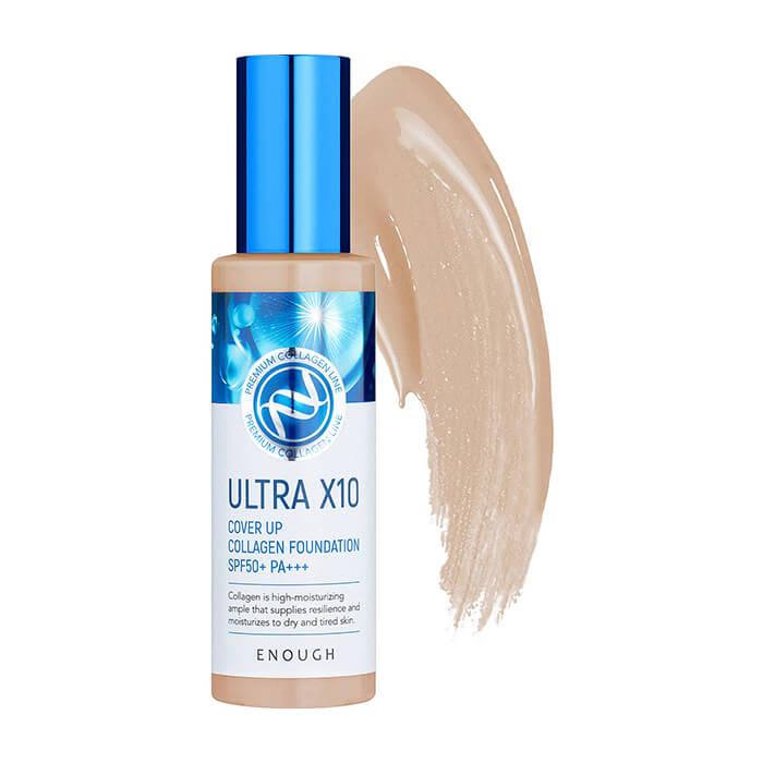 Купить Тональный крем Enough Ultra X10 Cover Up Collagen Foundation #21 Natural Beige | Натуральный бежевый, Тональный крем для идеально ровного и стойкого макияжа кожи лица с коллагеном, Южная Корея