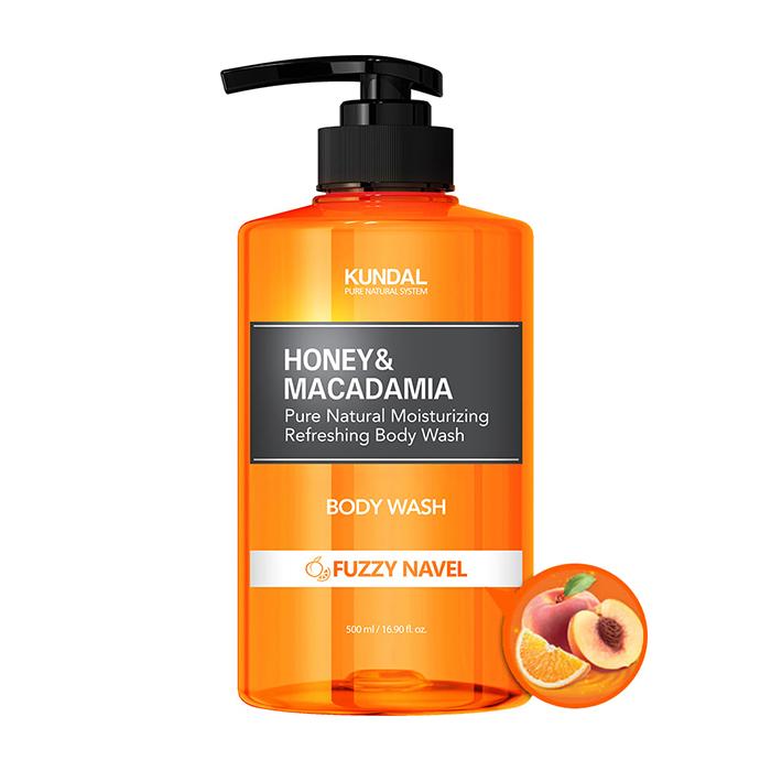 Купить Гель для душа Kundal Honey & Macadamia Body Wash Fuzzy Navel, Нежный гель для очищения кожи тела с мультифруктовым ароматом, Южная Корея