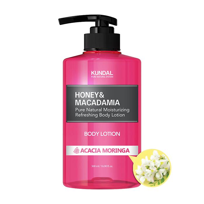 Купить Лосьон для тела Kundal Honey & Macadamia Pure Body Lotion Acacia Moringa, Нежный лосьон для увлажнения кожи тела с ароматом благоухающей акации, Южная Корея