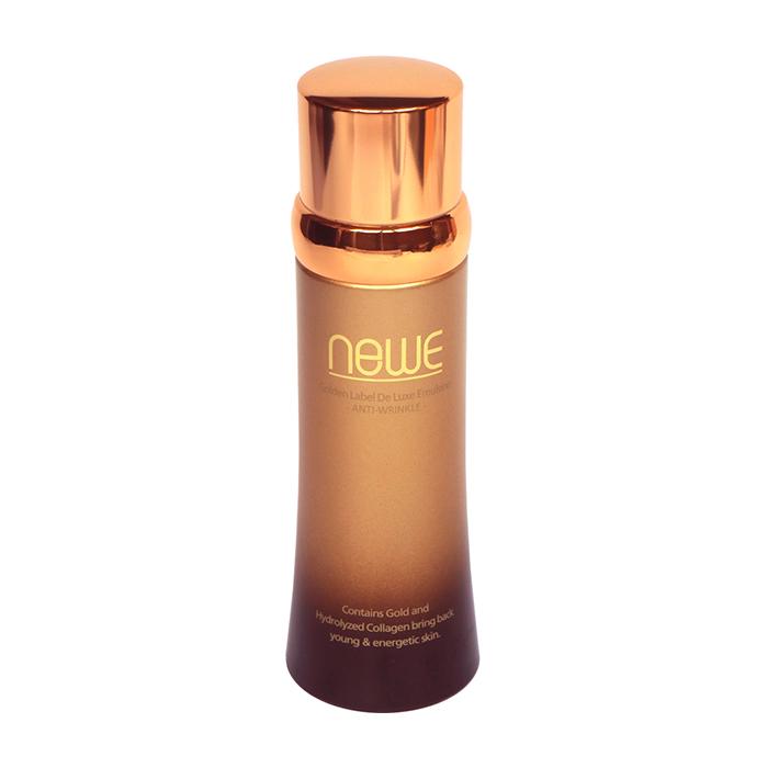 Купить Эмульсия для лица Newe Golden Label De Luxe Emulsion, Антивозрастная эмульсия для сияния кожи лица с частицами золота, Южная Корея