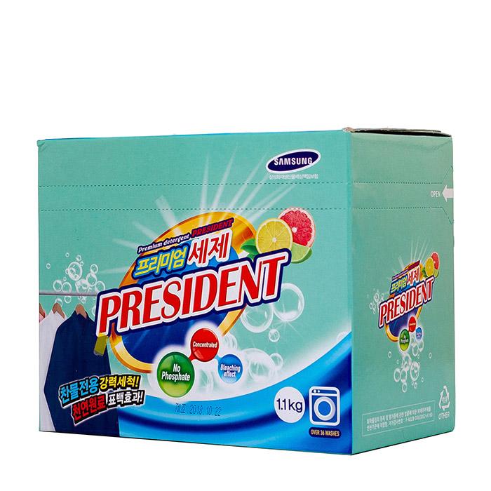 Купить Стиральный порошок President Premium Detergent Citrus (1100 г в коробке), Бесфосфатный концентрированный порошок для cтирки белья с цитрусовым ароматом, Южная Корея