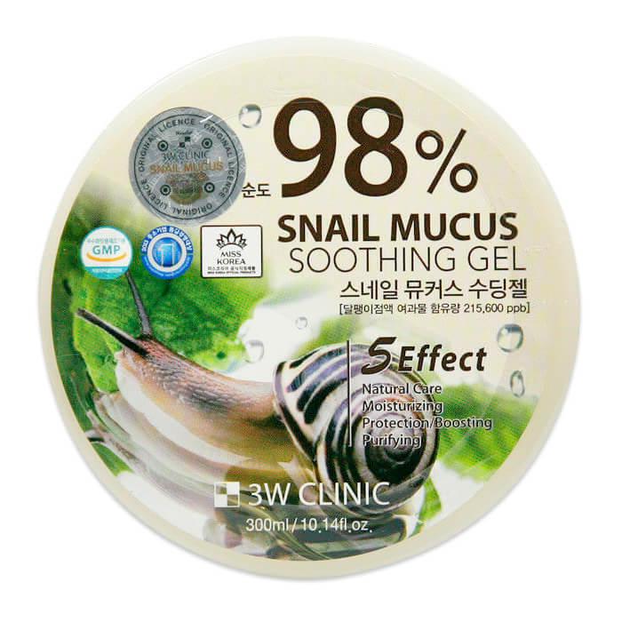 Купить Гель с улиткой 3W Clinic Snail Mucus Soothing Gel 98%, Многофункциональный гель со 100% экстрактом слизи улитки, Южная Корея