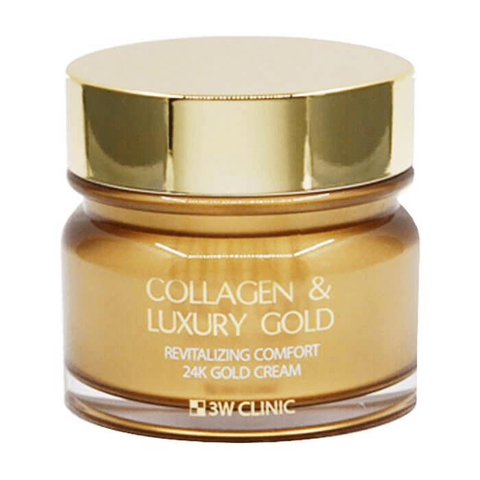 Крем для лица 3W Clinic Collagen & Luxury Gold Cream Антивозрастной крем для разглаживания морщин с коллагеном и золотом фото
