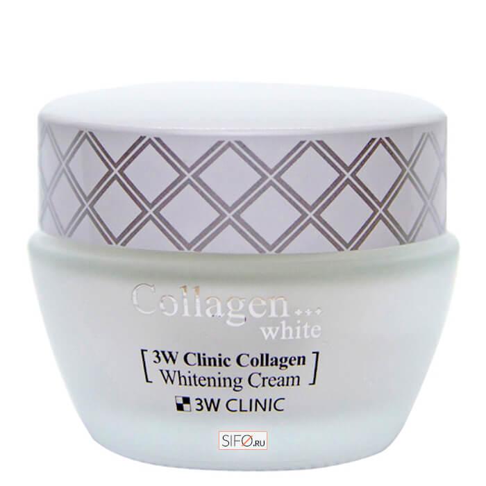 Купить Крем для лица 3W Clinic Collagen Whitening Cream, Осветляющий крем для кожи лица и шеи с морским коллагеном, Южная Корея