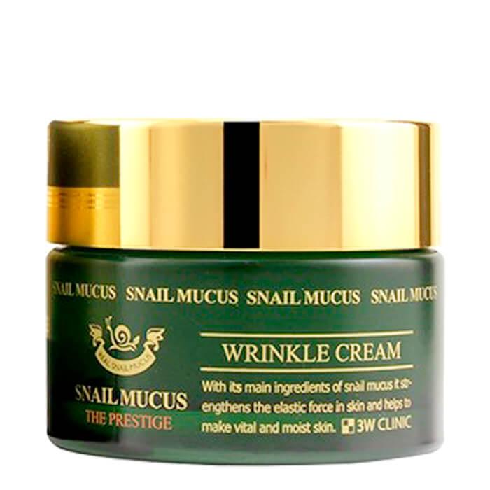 Купить Крем для лица 3W Clinic Snail Mucus Wrinkle Cream, Антивозрастной крем для лица с муцином слизи улитки, Южная Корея