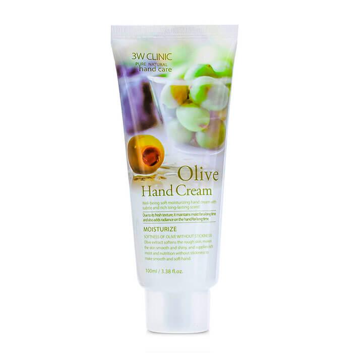 Купить Крем для рук 3W Clinic Olive Hand Cream, Увлажняющий крем для рук со смягчающим экстрактом оливы, Южная Корея