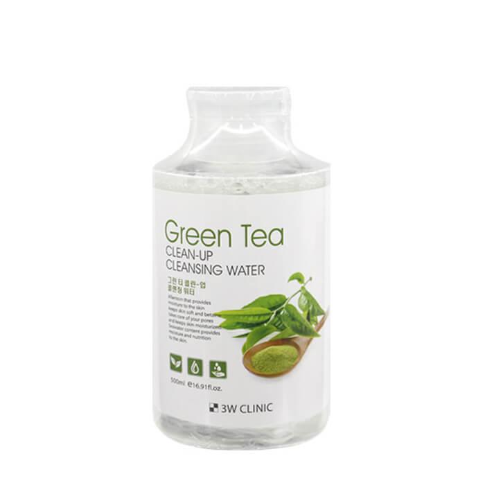 Купить Очищающая вода 3W Clinic Green Tea Clean-Up Cleansing Water, Средство для очищения и снятия макияжа с экстрактом зеленого чая, Южная Корея