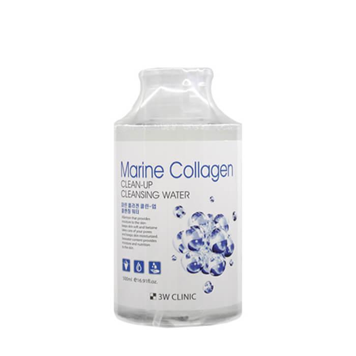 Купить Очищающая вода 3W Clinic Marine Collagen Clean-Up Cleansing Water, Средство для очищения и снятия макияжа с морским коллагеном, Южная Корея